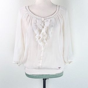 Hollister Beige Sheer Ruffle Long Sleeve Blouse